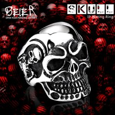 punk cool Fashion Stainless Steel Rings For Man Big Tripple Skull Product Punk Biker Jewelry Gift BR8-068