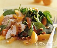 Barbecue Chicken Salad With Oranges Recipe - A healthy summer salad, perfect for cottage weekends or a light lunch. Dip Recipes, Light Recipes, Lunch Recipes, Salad Recipes, Healthy Recipes, Meal Recipes, Healthy Salads, Barbecue Chicken