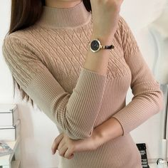 Fashion Sweater Women Cashmere Sweaters Winter Clothes Women Tops Turtleneck Long-Sleeved Knitted Warm Wool Pullover Sweate 9037