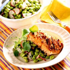 BBQ Miso-Glazed Salmon with Edamame Salad    Spread a mixture of miso, ginger, and cayenne pepper on a large salmon fillet. Enjoy with our healthy soybean salad for a Japanese-inspired meal.