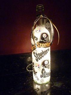 Handmade Lighted Wine Bottle w/ Pittsburgh STEELERS. $20.00, via Etsy.