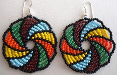 eMexican Huichol Beaded flower earrings by Aramara on Etsy