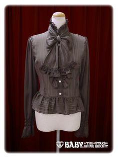 Stripe chiffon blouse with tie