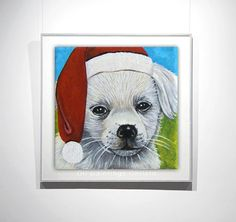 DOG painting Christmas hat oil painting by OilpaintingsChrista