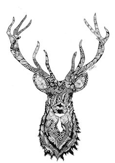 Using the popular Zentangle technique Australian artist Annabelle Thomas creates unique wall art prints for the home. Stag Tattoo Design, Deer Tattoo, Dancing Drawings, Art Drawings, Mandala Art, Wilderness Tattoo, Animals With Horns, Wildlife Quilts, Hirsch Tattoo