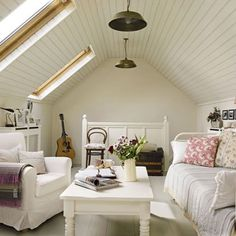 Wonderful Fantastic White Attic Bedroom Interior Design With Cozy Atmosphere - Use J/K to navigate to previous and next images