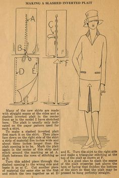 The Midvale Cottage Post: Home Sewing Tips from the 1920s - Adding an Inverted Pleat to a Skirt