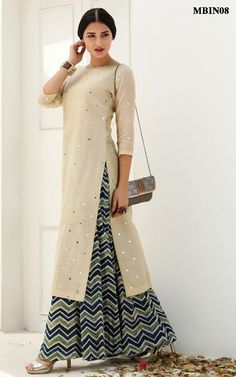 Mirror Work Kurta Palazzo Set @ MeenaBazaar is part of Kurta palazzo - Salwar Designs, Simple Kurti Designs, Kurta Designs Women, Kurti Neck Designs, Blouse Designs, Indian Dresses, Indian Outfits, Stylish Dresses, Fashion Dresses