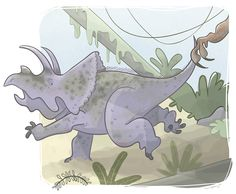 EDUCATIONAL BOOKS - Ester Garay, ilustradora #illustration #ilustracion #educational #book #infantil #childrenbook #children #read #libro #texto #beautiful #color #tender #lectura #drawing #dibujo #dinosaur #dinosaurio #triceratops #run #correr #jurassic #kids #warning