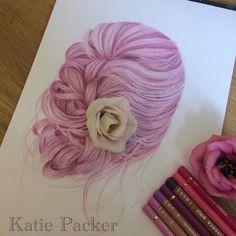 Fine Art Hand Drawn Hair Study Print Pink by KatiePackerArtist Mermaid Drawings, Color Pencil Art, How To Draw Hair, Mermaid Hair, Hair Art, Colored Pencils, Art Inspo, Original Artwork, Fine Art