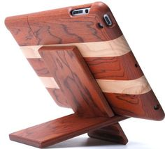 iPad wooden case with stand i'm such a geek...i would love this....