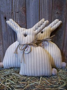 ~Hello and welcome~ In this listing, I am offering a trio of primitive bunnies that have been handmade by me for your Easter and/or Spring