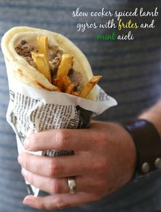 slow cooker spiced lamb gyros with frites and mint aioli (Climbing Grier Mountain) Slow Cooking, Slow Cooked Meals, Crock Pot Slow Cooker, Slow Cooker Recipes, Crockpot Recipes, Cooking Recipes, Drink Recipes, Lamb Dishes, Good Food