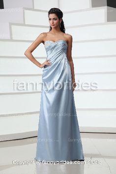 Sky Blue Sweetheart Beading A-line Evening Dress - Fannybrides.com A Line Evening Dress, Evening Dresses, Discount Prom Dresses, Graduation Dresses, Girls Dresses, Formal Dresses, Dress P, Beading, Sky