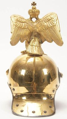 Backside view of the Imperial Russian Horse Guard Officer's Regiment officer's Model 1889 helmet with eagle.
