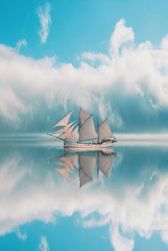 I absolutely love this picture. It screams quiet serenity. I wish so much I was sitting on the boat right now. Beautiful Places, Beautiful Pictures, Sail Away, Mirror Image, Tall Ships, Belle Photo, Wonders Of The World, Sailing Ships, Scenery