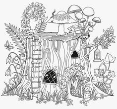 Adult Coloring Page #adultcoloring | Forest, Tree, plants and mushrooms