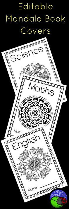 Editable mandala book covers Change the subject and even change the font size and type! 8 designs Room for name Print and color! Teaching Tools, Teaching Math, Teaching Resources, Primary School Curriculum, Primary Classroom, Mandala Book, Math Numbers, Art School, Book Covers