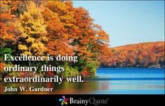 Excellence is doing ordinary things extraordinarily well. - John W. Gardner