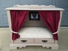 Dog/Cat House, Repurposed Console Television, TV Dog House, Dog House, Cat House, Pet Bed, Console TV Bed