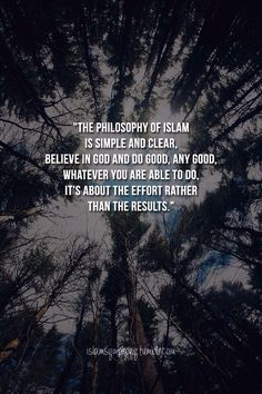 The philosophy of Islam is simple and clear. Believe in God and do good, any good. Whatever you are able to do. It's about the effort rather than the results.