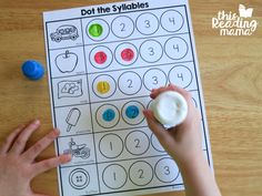 Syllables Worksheets - Dot the Syllables - This Reading Mama Syllables Kindergarten, Counting Worksheets For Kindergarten, Beginning Of Kindergarten, Kindergarten Activities, Fun Worksheets, Literacy Games, Phonological Awareness, Phonics, Gillingham