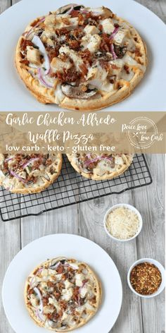 The original chaffle! This Low Carb Garlic Chicken Alfredo Waffle Pizza is the perfect recipe when you're craving something savory and satisfying. Pizza, chicken alfredo, and bacon. YUM! Low Sugar Recipes, Low Carb Chicken Recipes, Healthy Low Carb Recipes, Low Carb Dinner Recipes, Ketogenic Recipes, Breakfast Recipes, Diet Recipes, Ketogenic Diet, Dessert Recipes
