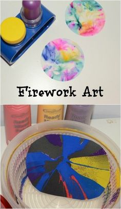 Simple science experiment/craft for New Year, Fourth of July or bonfire night. Add extra glitter for sparkly spin art pictures and experiment with different types of ink for filter paper fireworks. Kindergarten Art Activities, Art Activities For Toddlers, Preschool Art, Crafts For Kids, Class Activities, Cool Science Experiments, Science Fair Projects, Science For Kids, Science Ideas