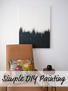 Simple DIY Black + White Abstract Painting - Step by Step Photos. Make your own affordable art!