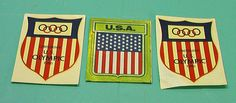 Sports OLYMPIC GAMES United States 3 Decals Sticker America Vintage 1980's