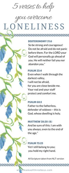 Bible verses on loneliness  feeling alone  verses of comfort  free printable