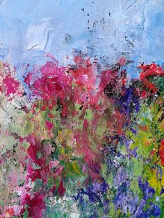 Highly textured original painting of a garden. An original painting to buy online. By Jan Rippingham Oil Painting Flowers, Painting Edges, Abstract Flowers, Abstract Art, Pour Painting, Original Art, Original Paintings, Art Paintings, Acrylic Art