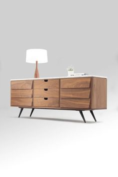 Sideboard / cupboard / credenza in solid board oak / walnut and marble top