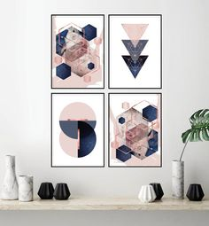 Set of 4 printable blush pink navy blue rose gold geometric art prints Digital d Indigo Bedroom, Gold Bedroom, Bedroom Wall, Blush Bedroom Decor, Copper Bedroom, Bedroom Ideas, Gold Wall, Blue Roses, Rose Flowers