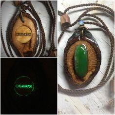 Glow pendant/ handmade wooden pendant/ opal by OKAVARKpendants
