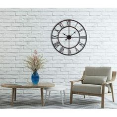 Utopia Alley Utopia Alley Roman Round Wall Clock, Distressed Finish, Bronze, Round - The Home Depot Grey Clocks, Oversized Wall Clocks, Law Office Decor, Wall Clock Online, Wall Decor Set, Traditional Decor, Kit Homes, Accent Decor, Rustic
