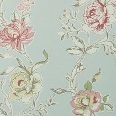 Clarke and Clarke Clarisse romantisk tapet med blommor Vintage Flowers Wallpaper, Fabric Wallpaper, Flower Wallpaper, Wall Wallpaper, Navy Blue Wall Art, Blue Walls, Duck Egg Blue Wallpaper, Buy Wallpaper Online, Scandinavian Art