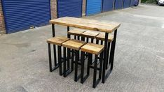 Industrial style high bar table and stools