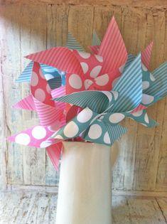 Pinwheels Bubble Gum Pink & Aqua  Set of 8 Paper by HalosHaven, $24.00