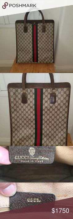 8efae1226c19 VINTAGE GUCCI SUPREME GG BROWN XL TOTE MAKE on Offer on this Rare Preowned Gucci  Vintage