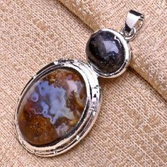 Amazing Sterling Silver Plated Moss Agate Double Gemstone Pendant #5194 $12.95