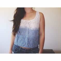 ombre eyelet tank top NWT. Blue wash. Beautiful and supersoft dip-dyed floral lace. Easy fit. 50% nylon, 49% cotton, 1% other fiber. ❌No Trades   No Holds   No PayPal❌ Abercrombie & Fitch Tops Tank Tops