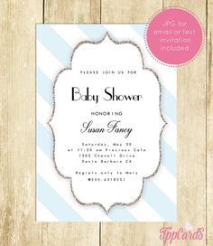 Blue and White Baby Shower Invitation Printable Silver Glitter Baby Shower Invites Gender Neutral Silver  Blue White Invitation 0061A-BWS by TppCardS #tppcards #printable #invitations