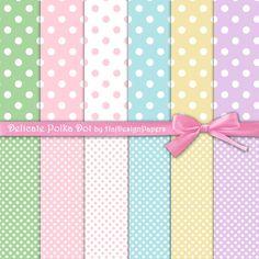 Delicate Polka Dot - Instant Download, Digital Collage Sheet, Digital Paper, Premade Scrapbook Paper, Polka Dot, Scrapbooking Paper