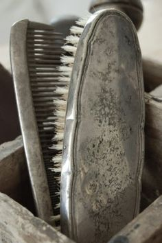 vintage brush & comb set  {old silver}