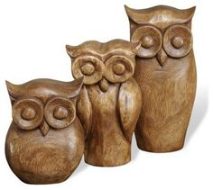 Interlude Home Brenner Owl Trio - rustic - Accessories And Decor - Carolina Rustica