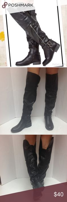 Bamboo Jagger-11 Over the Knee Boots Mismatch New without box Bamboo Jagger-11 Over the knee black boots. This is a mismatch, left boot is Women's Size 6 and the right is Women's Size 6.5. The first picture is for illustration purposes only, you will receive the pair shown in pictures 2 to 4. Note that this is a display pair and may show minimal signs of wear from being tried on and displayed at the store. Smoke Free and Pet Free Environment. Bamboo Shoes Over the Knee Boots