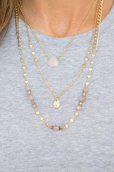 Multi Strand Beaded Necklace - Pink Multi