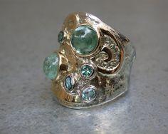 zilver met goud speciaal designs  met toemalijn atelier 12hoven arnhem edelsmid goud en zilver smeden