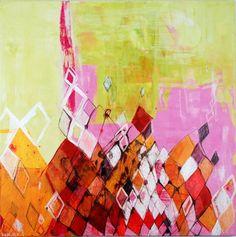 "Triangulation (pink), 30"" x 30"", acrylic, ink on canvas, $1500., (c) 2013 Barbara Gilhooly"